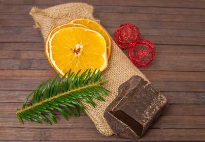 Bûche chocolat oranges confites pauvre en FODMAP