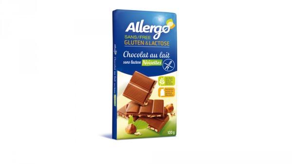 chocolat au lait sans lactose et noisettes Allergo