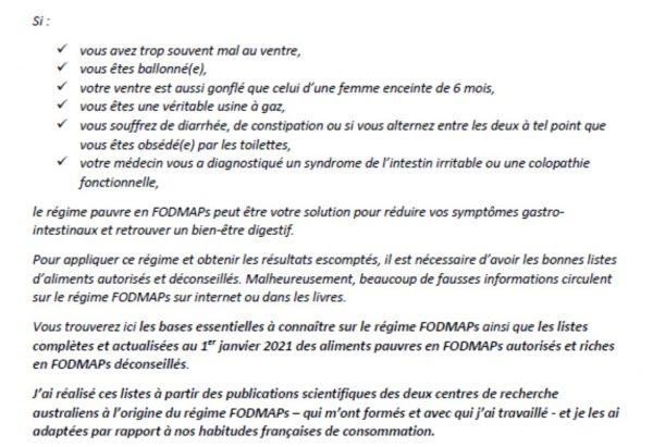 régime fodmaps liste aliments
