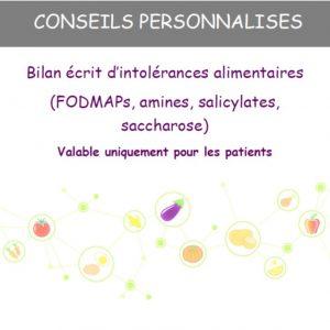 BILAN INTOLERANCES ALIMENTAIRES : FODMAPs, Amines, Salicylates, Saccharose